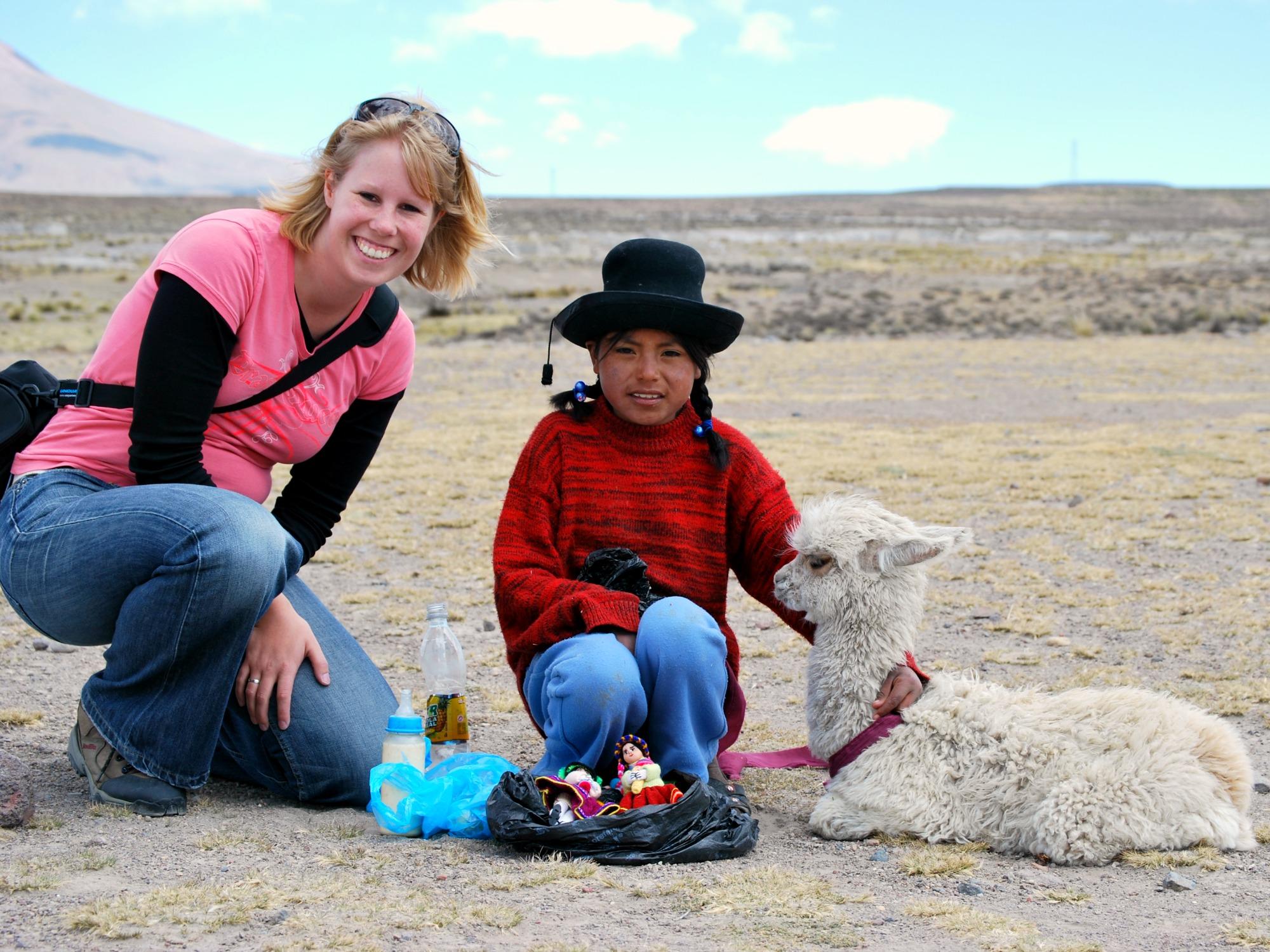 Peru reis - Onderweg een lama tegenkomen