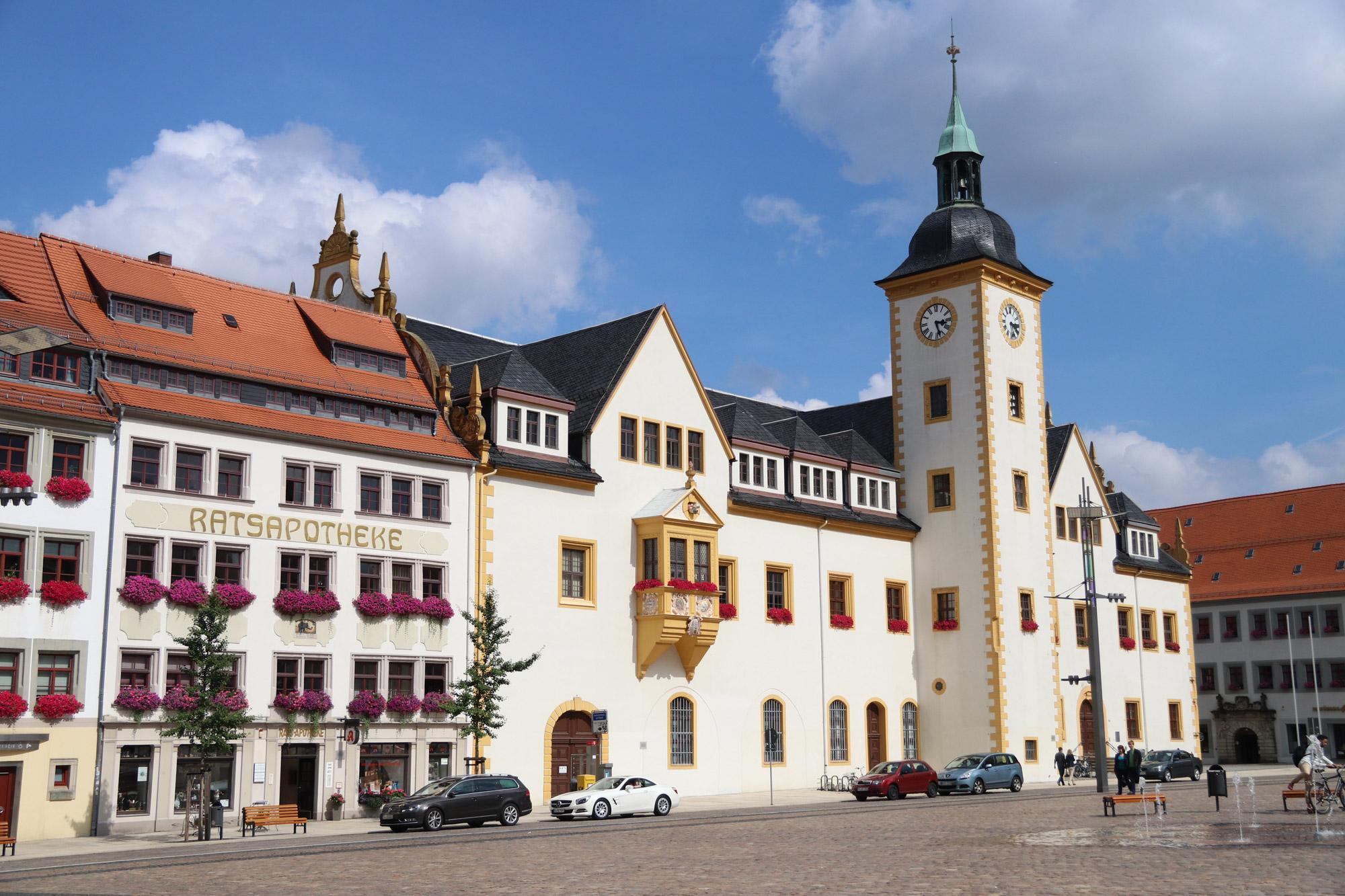 Freiberg ontdekken met oma - De Obermarkt met alle mooie gebouwen