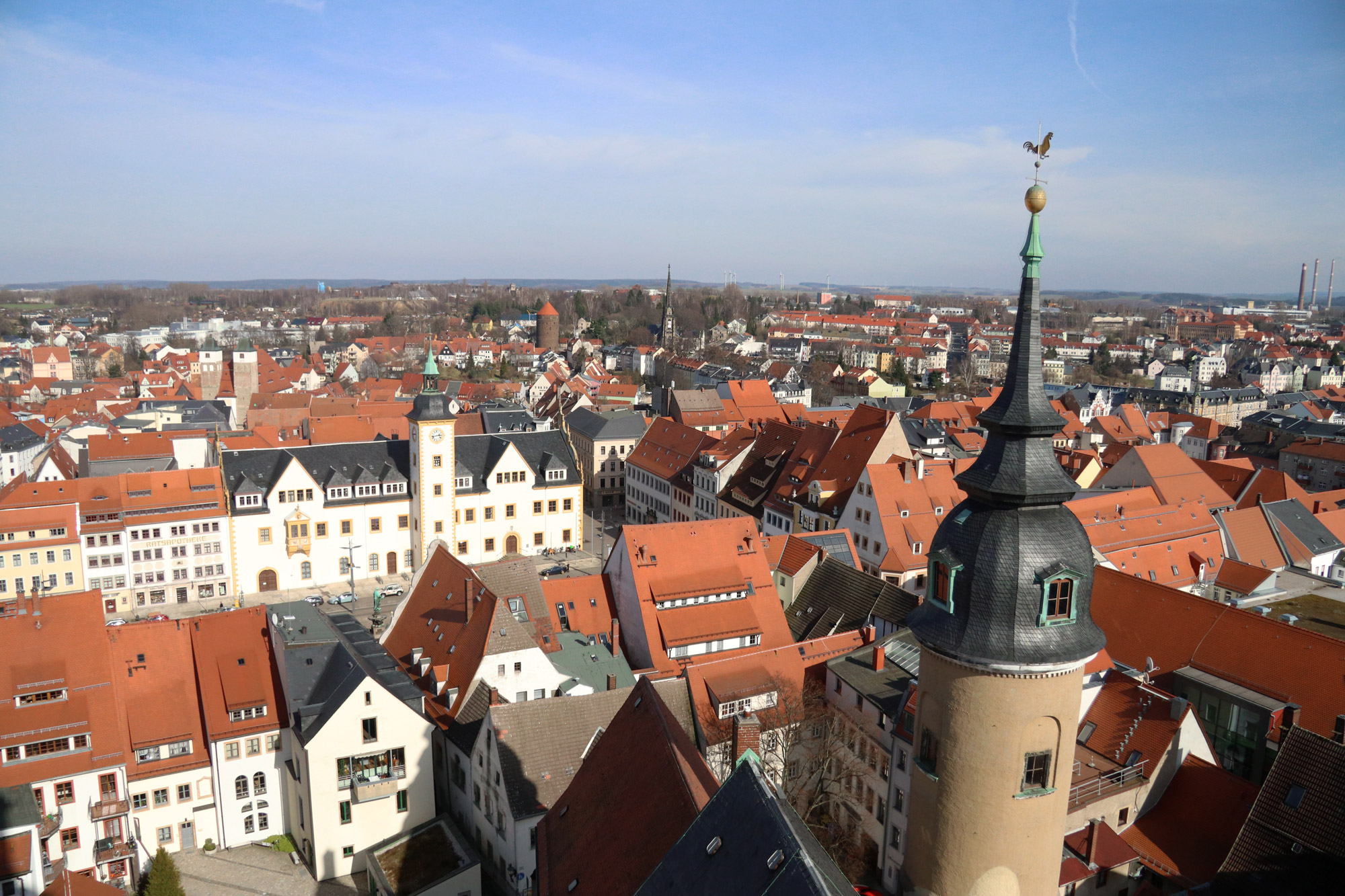 Freiberg, de zilverstad in Saksen - Panoramisch uitzicht vanaf de Petrikirche