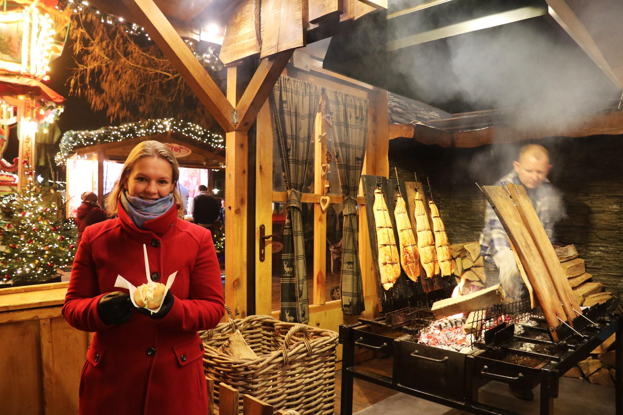 Bielefeld kerstmarkt - Broodje gerookte zalm
