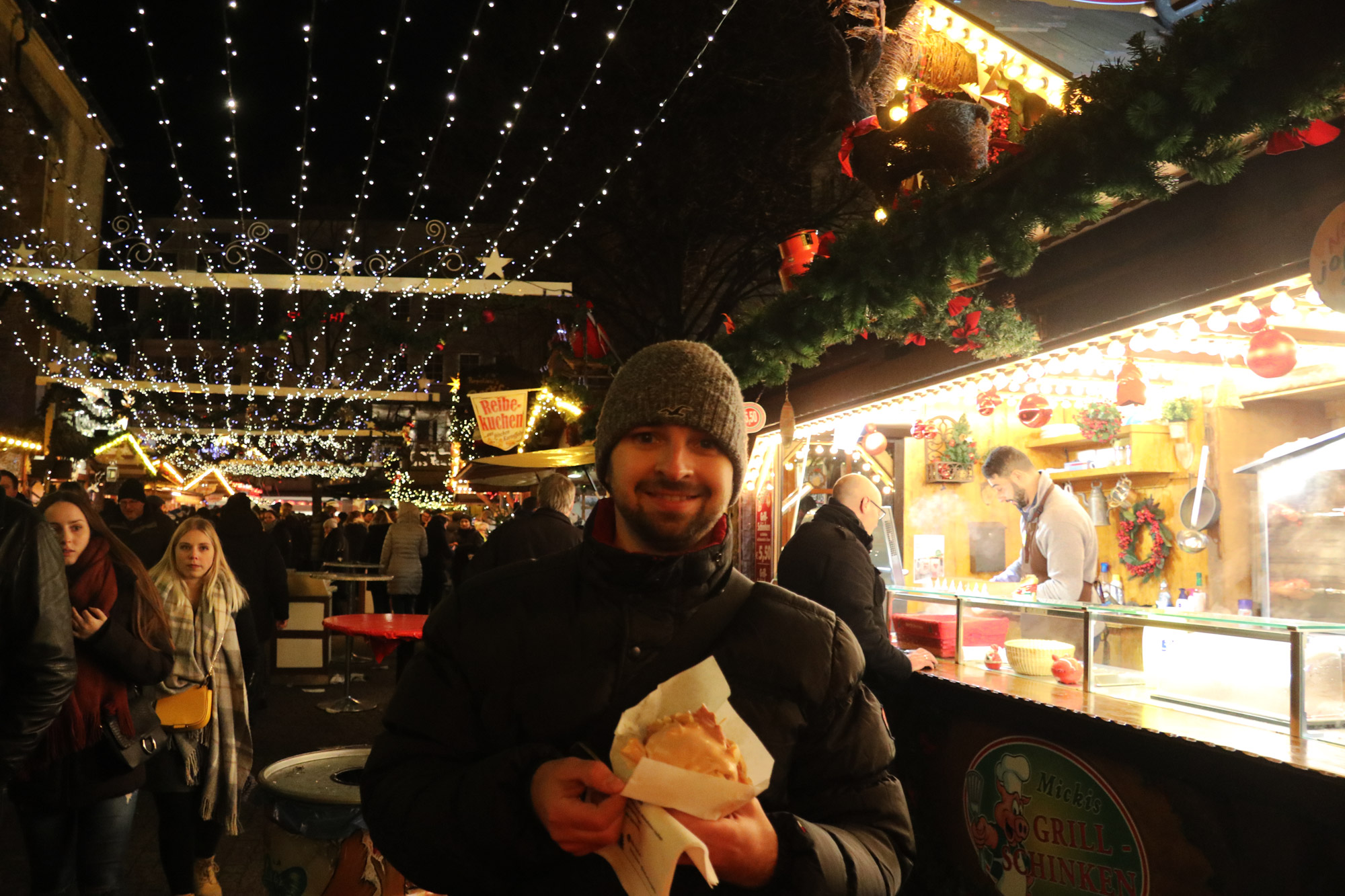 Bielefeld kerstmarkt - Grill Schinken