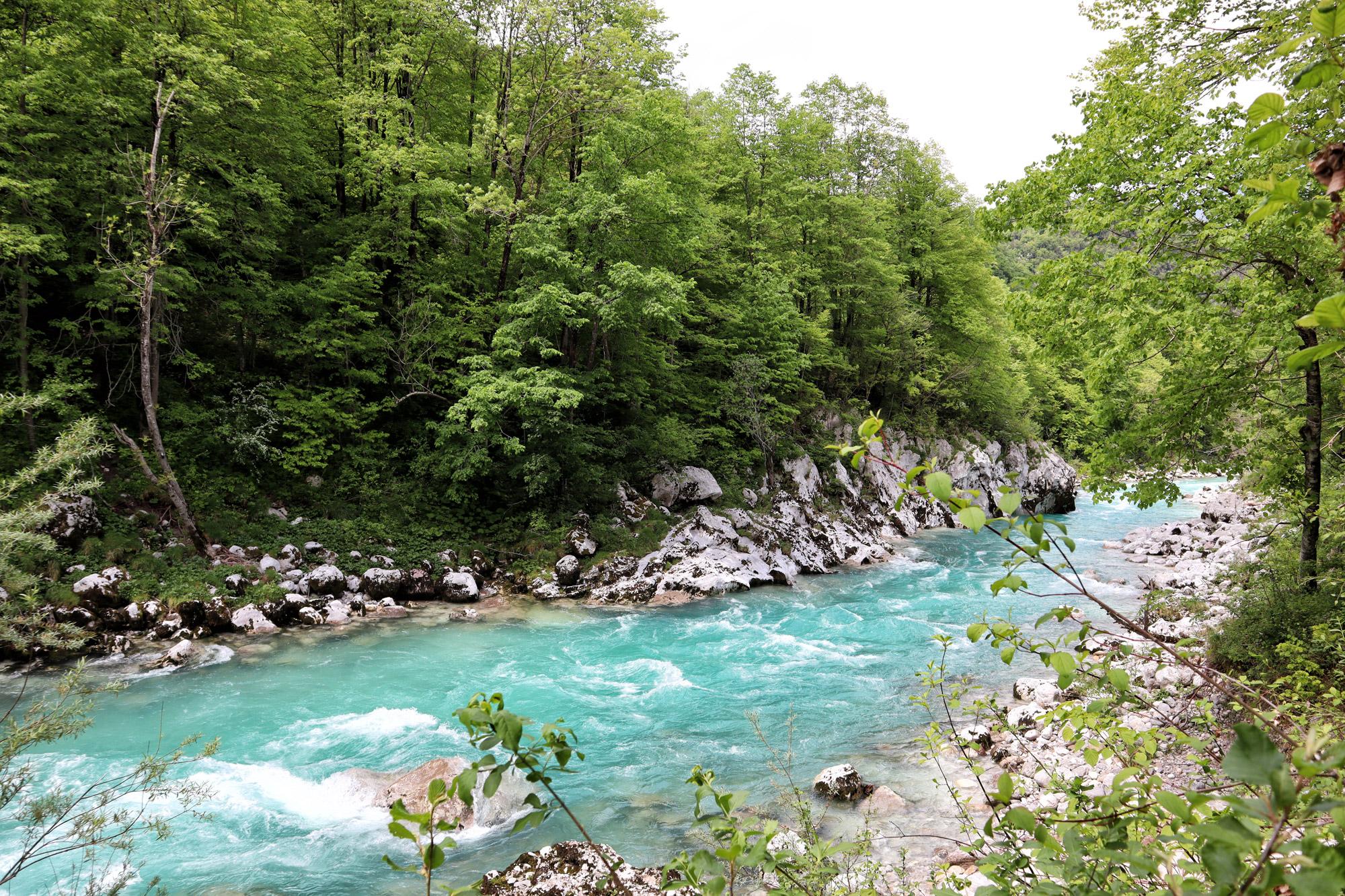Soška pot wandeling in Slovenië - Soča rivier bij Kamp Koren