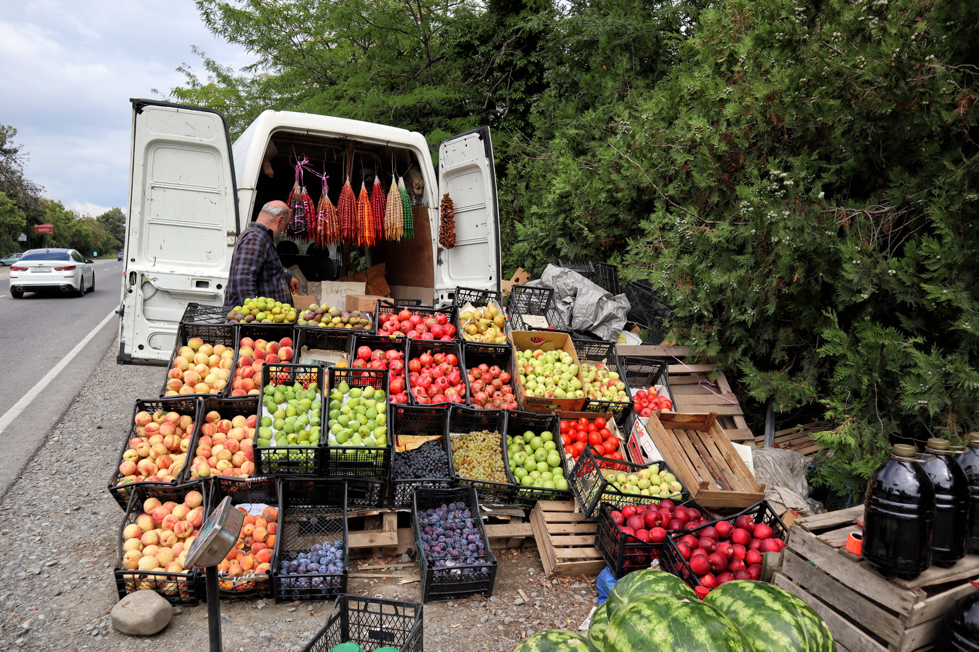 Kosten Georgië - Fruit kopen langs de weg